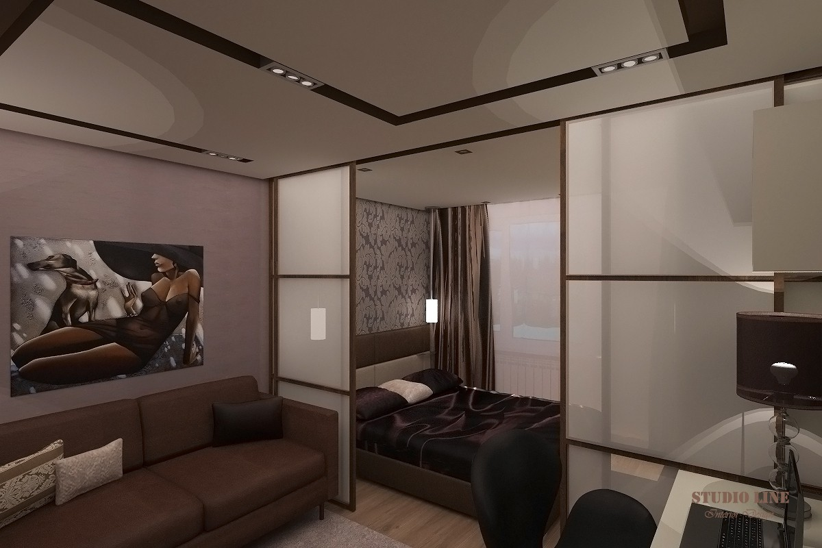 Living room and bedroom (16.6 sq ft.) in 3d max vray image