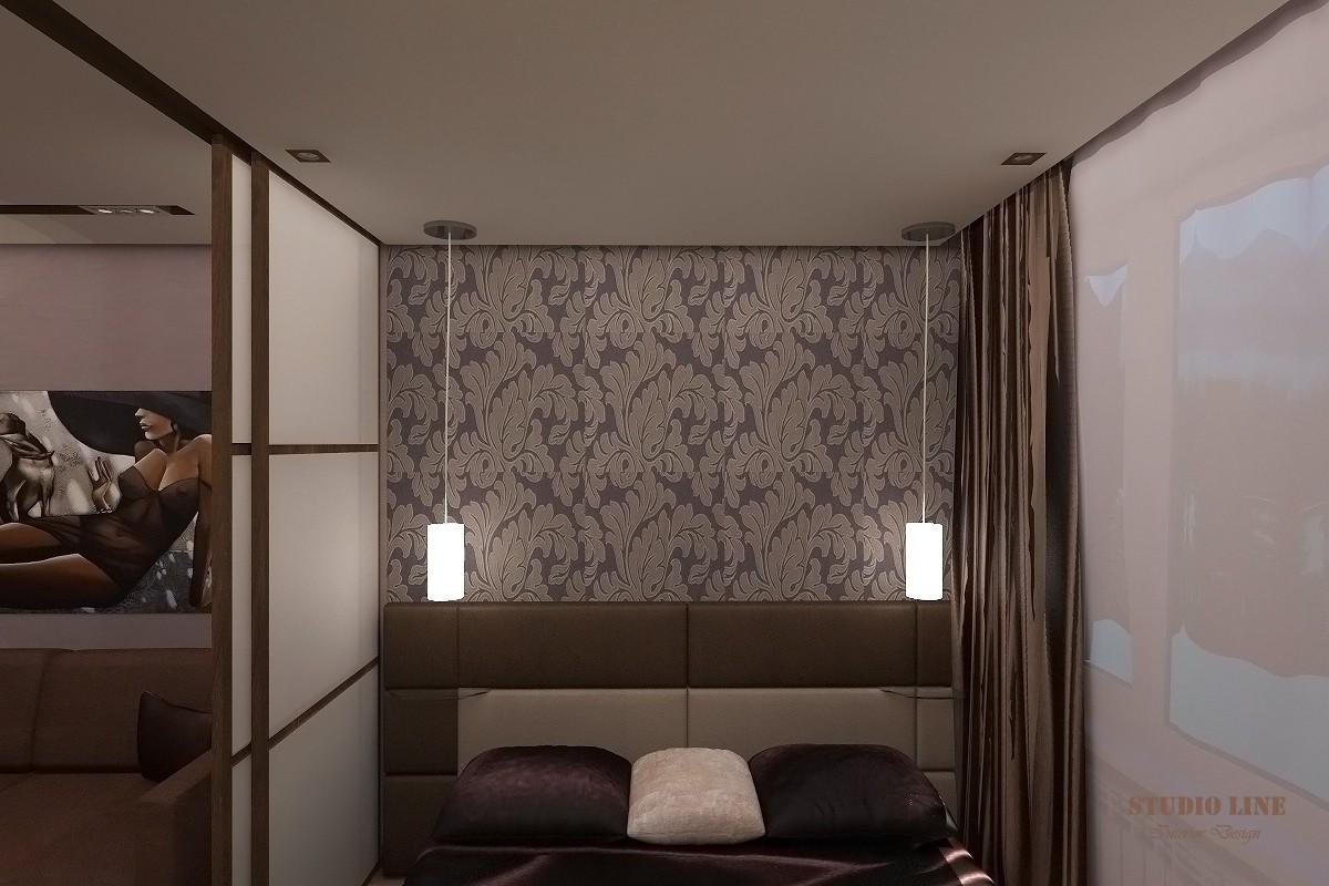 Гостиная совмещенная с рабочей зоной и спальней (16,6 кв.м.) в 3d max vray изображение