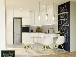 एक नई डिजाइन अवधारणा के निर्माण के साथ रसोई के 3 डी दृश्य।