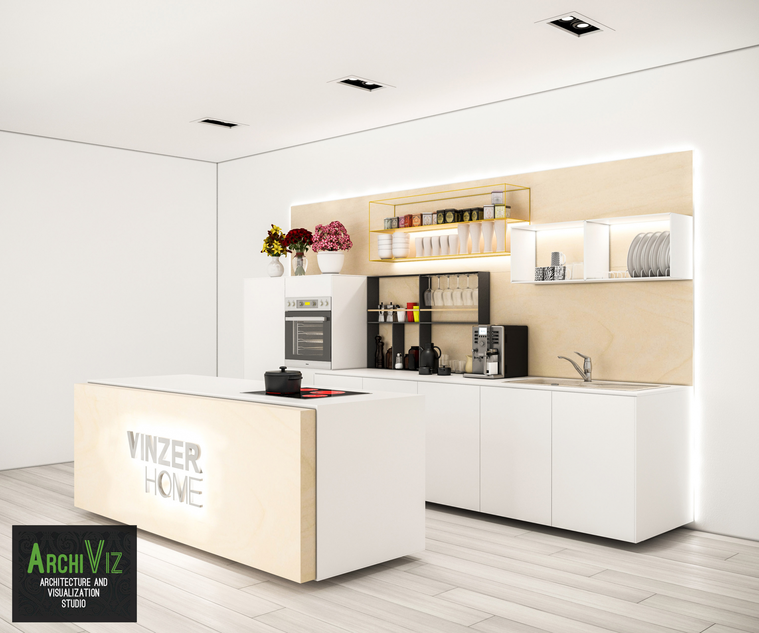 3D visualization of the kitchen with the creation of a new design concept. in 3d max vray 2.0 image
