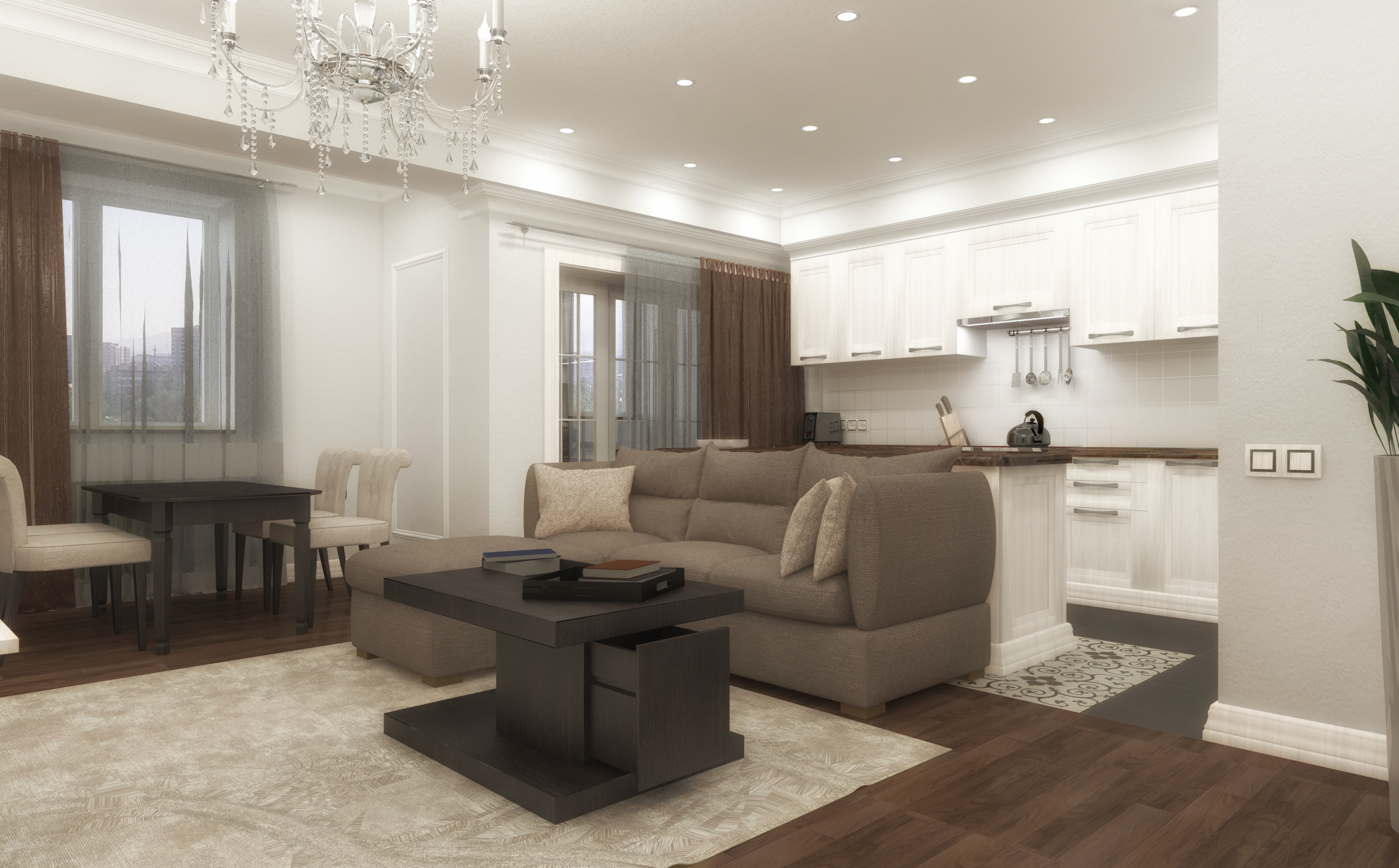 Interior design project LCD Spring, Almaty in ArchiCAD maxwell render image