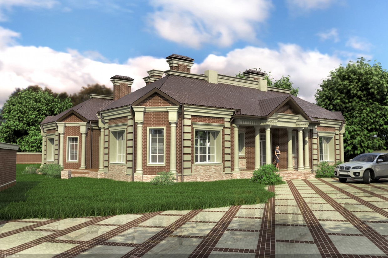 3d visualization of the project in the The facade of a house (the approved version) 3d max, render vray of romanius