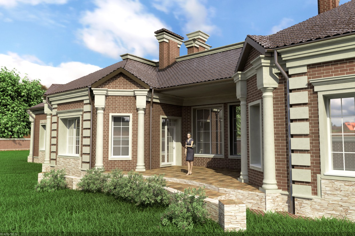The facade of a house (the approved version) in 3d max vray image