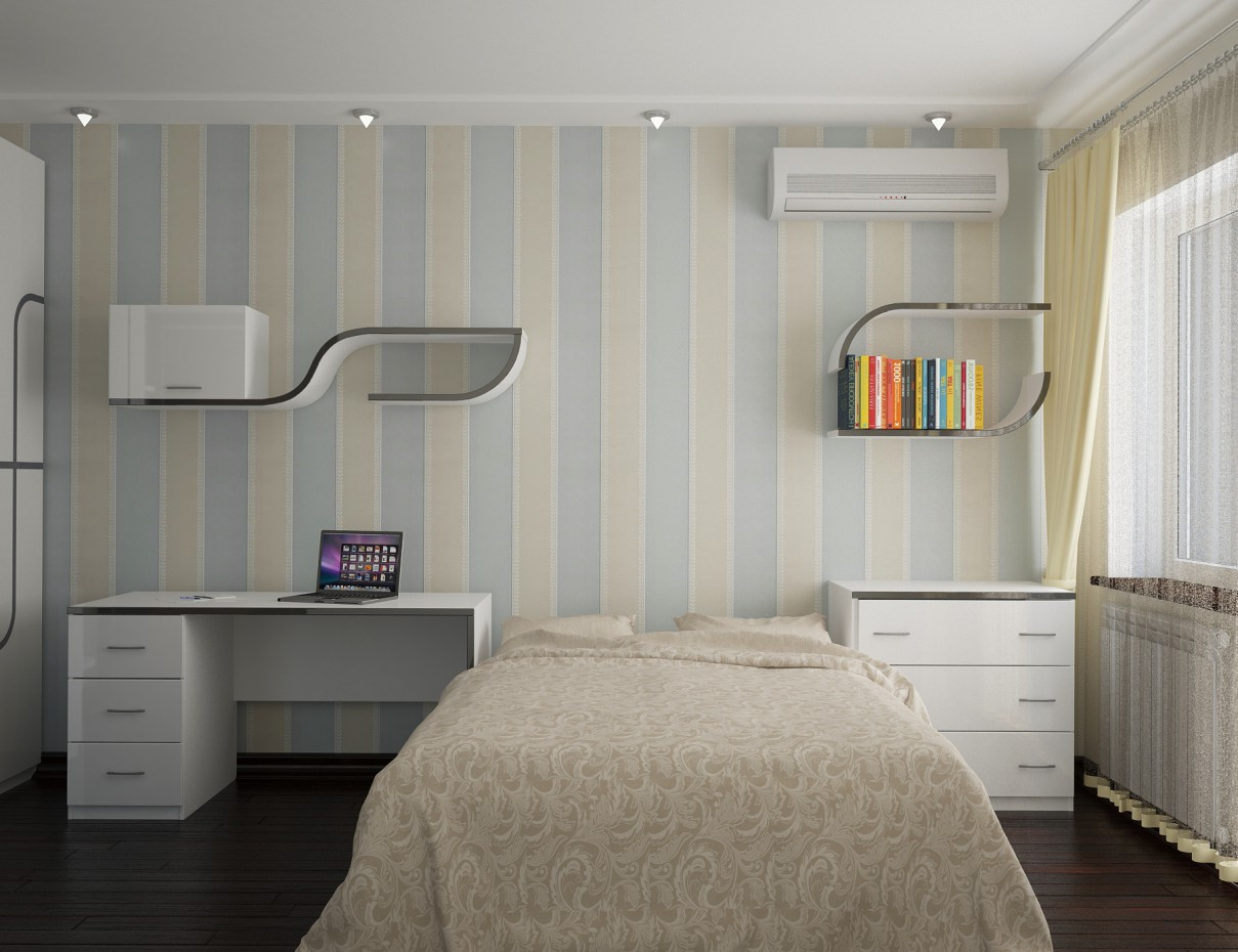 The bedroom in bright colors in 3d max vray image