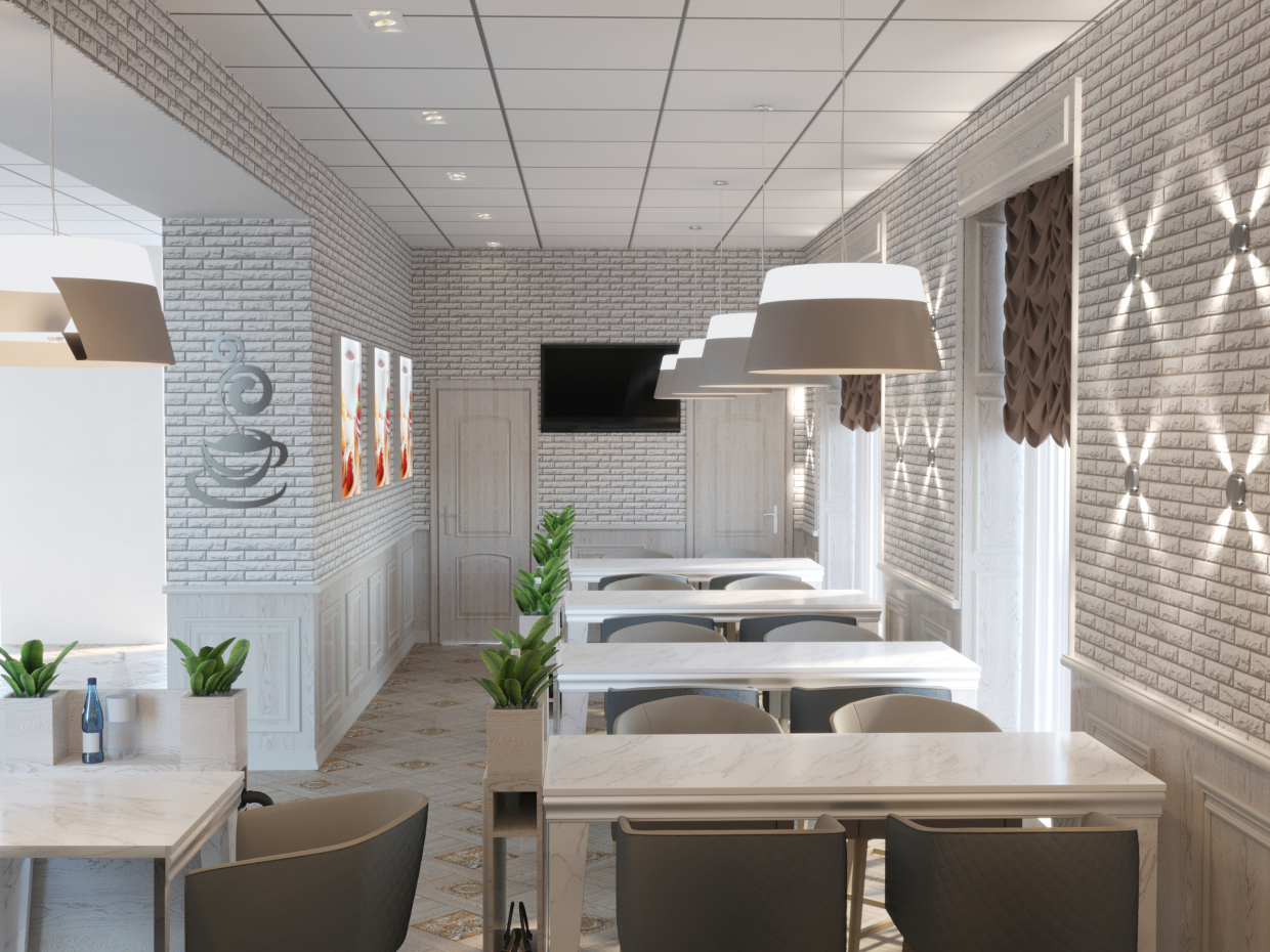 Cafe at the bakery in 3d max corona render image