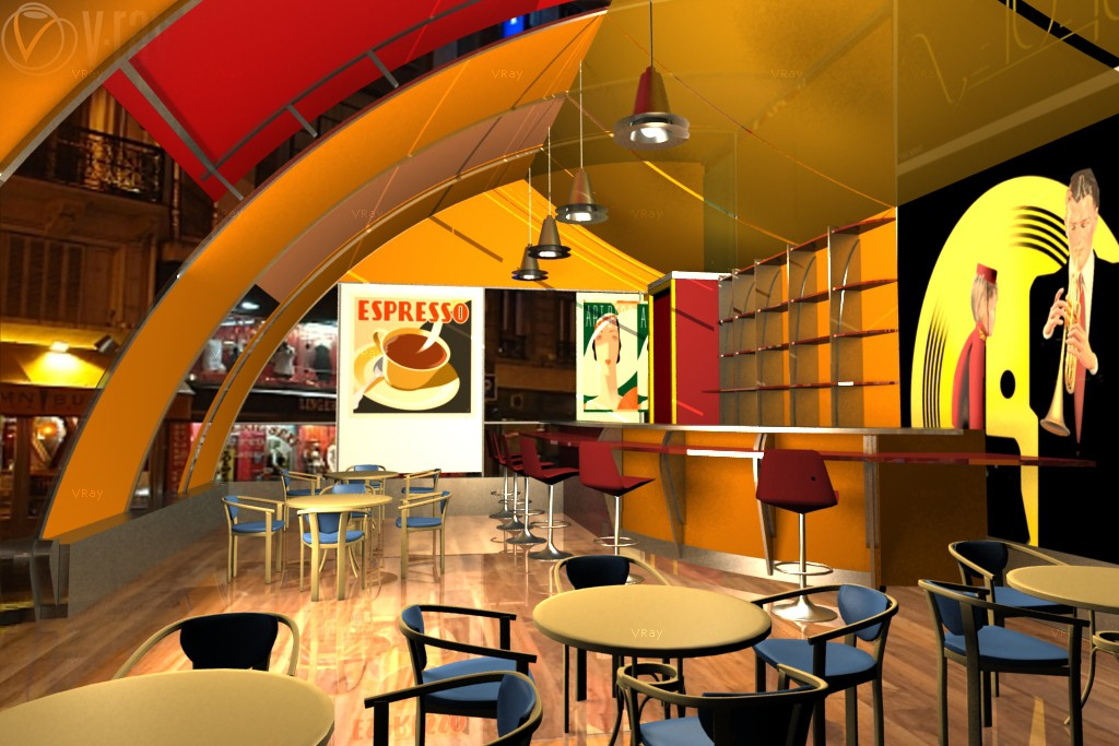 Summer cafe, art deko in 3d max vray image
