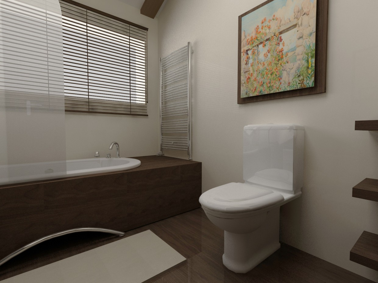 Simple bathroom design in 3d max vray image
