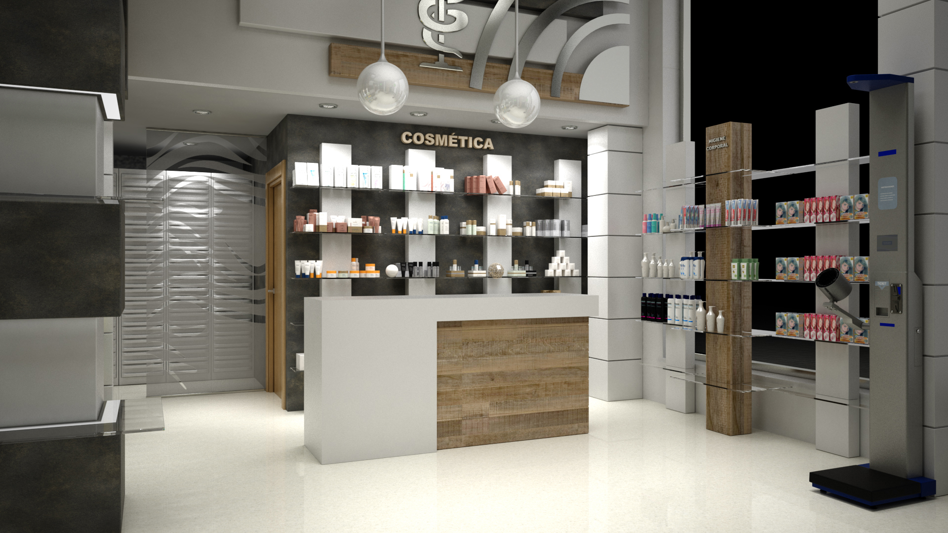 Design of commercial premises for Pharmacy in 3d max vray 3.0 image