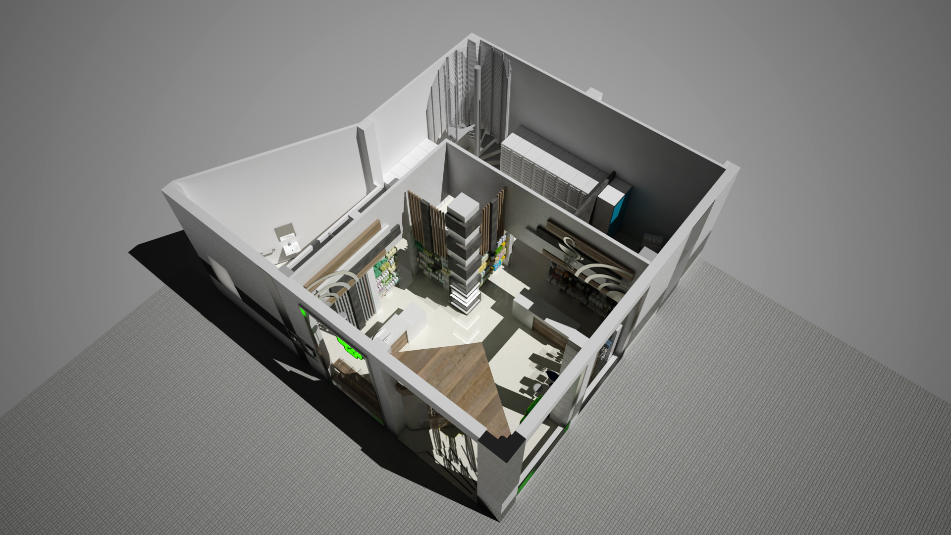 फार्मेसी के लिए वाणिज्यिक परिसर का डिजाइन 3d max vray 3.0 में प्रस्तुत छवि