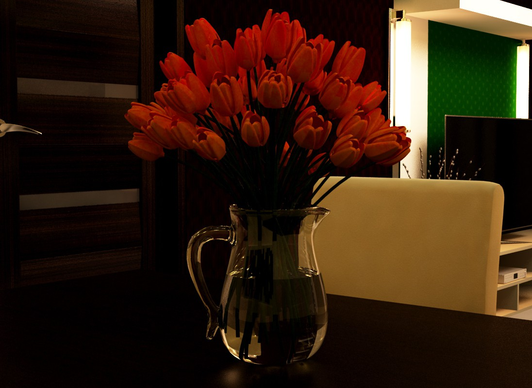Flowers in a vase in 3d max vray image