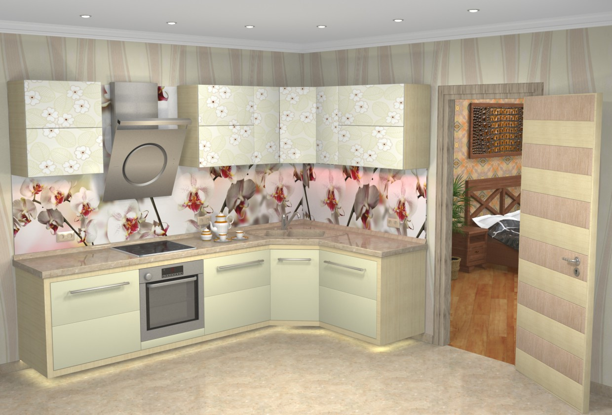 "Kitchen ""Wild Orchid"" in 3d max vray image"