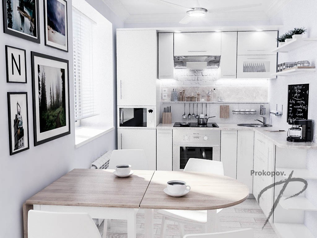 3D-visualization The kitchen in the Norwegian style in style Minimalism