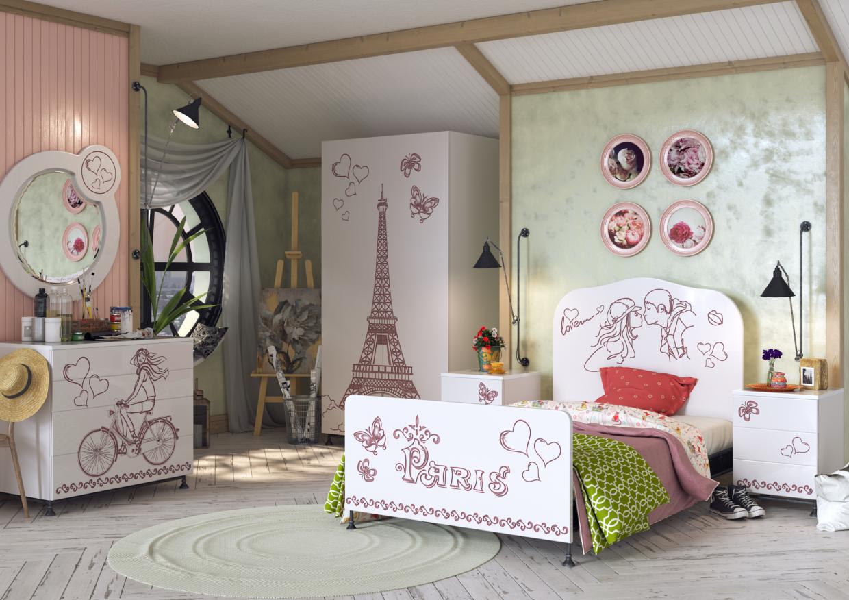 """Children's room """"Paris"""" in 3d max corona render image"""
