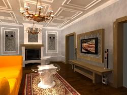 Un salón con chimenea