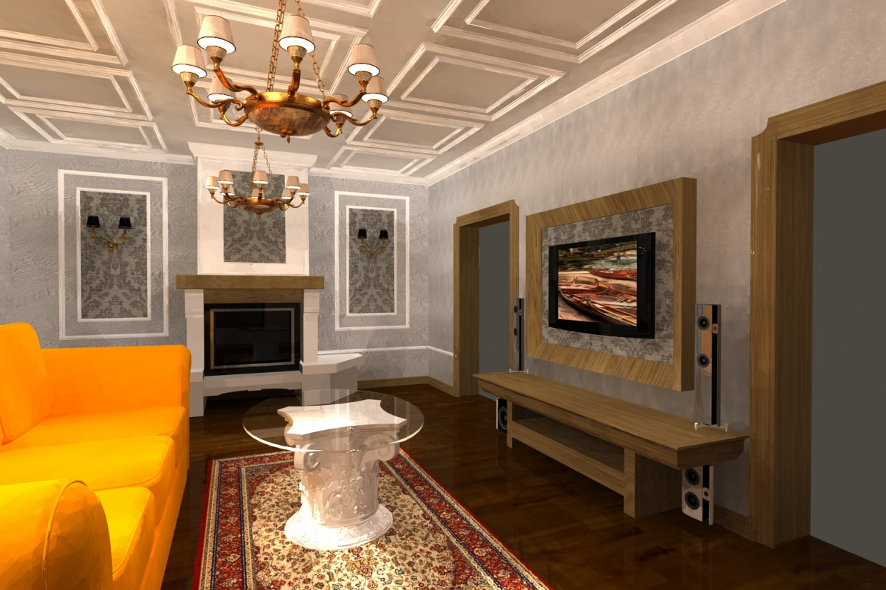 A hall with a fireplace  in  3d max   vray  image