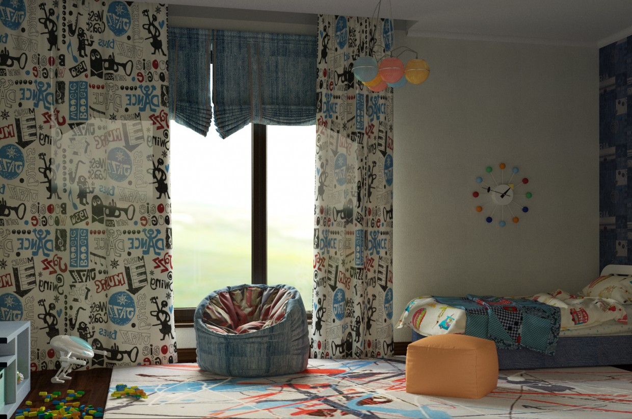 Bedroom for a 5 years-old boy in 3d max corona render image