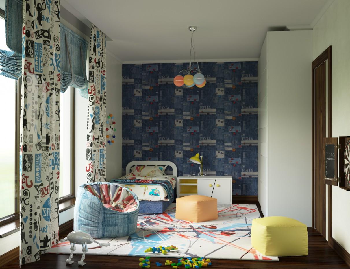 Дитяча спальня для хлопчика 5ти років в 3d max corona render зображення