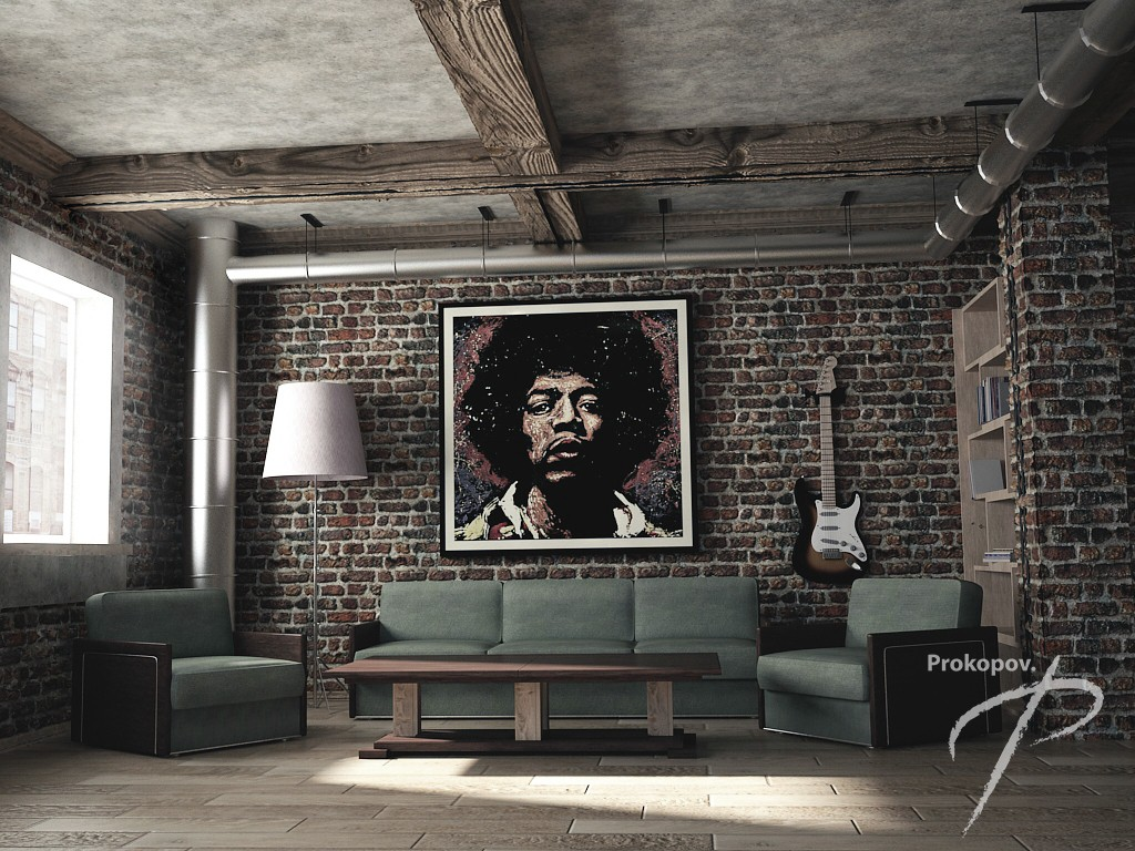 Livingroom in a loft style in 3d max vray 3.0 image