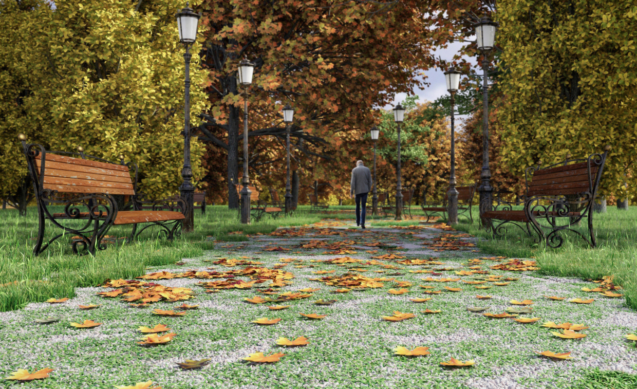 A park in 3d max vray 2.5 image