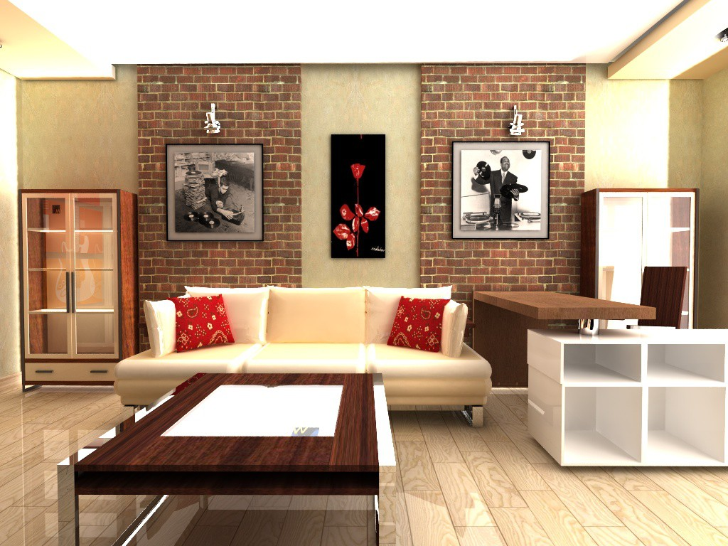 3d visualization of the project in the living room for music lover Cinema 4d, render vray of vildmar