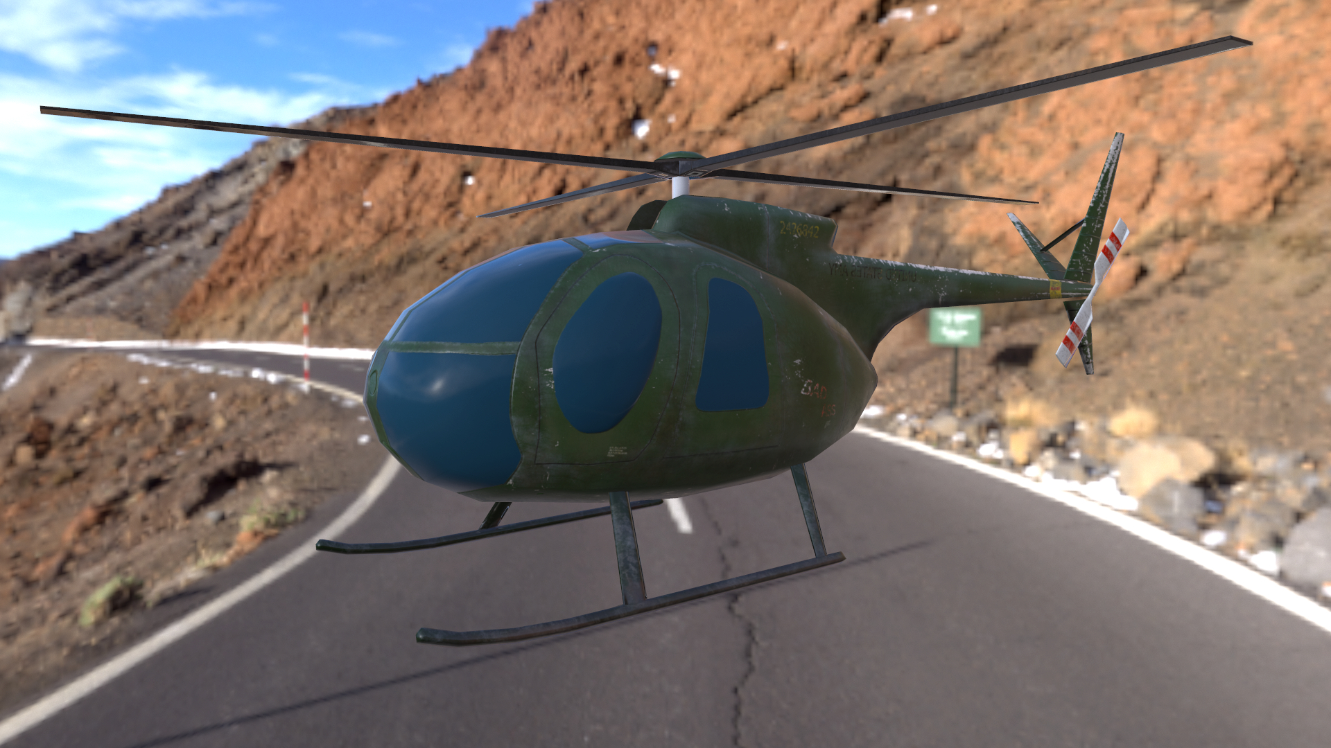 lowpoly modello di elicottero Hughes OH-6 Cayuse app mobile in 3d max Other immagine