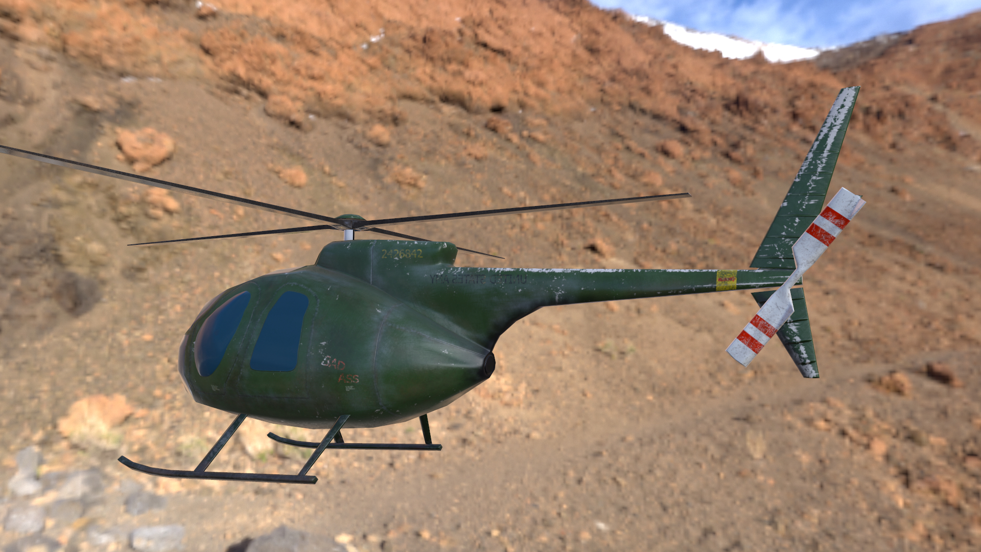 lowpoly helicopter model Hughes OH-6 Cayuse for mobile application in 3d max Other image