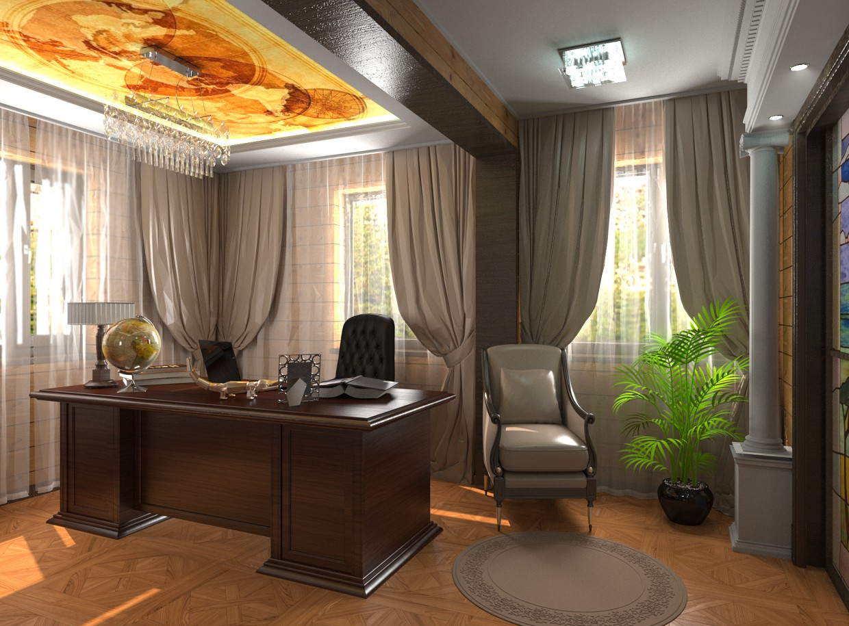 Room in private home of logs in 3d max corona render image