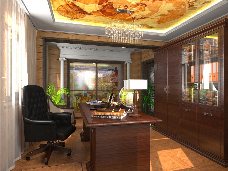 Кабинет в частном доме из бруса в 3d max corona render изображение