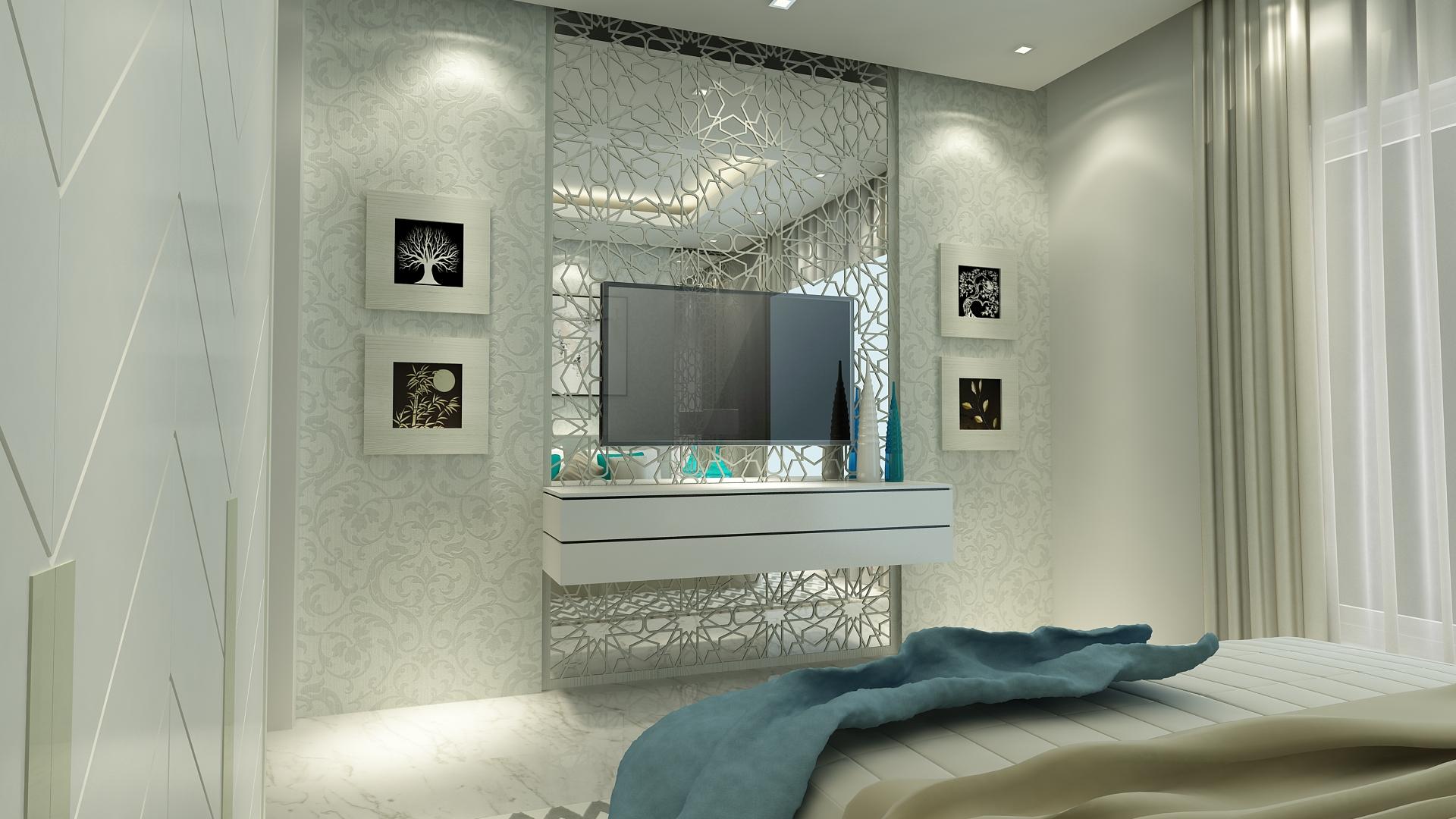 Visualizzazione 3D Interior design camera da letto moderna in grande ...