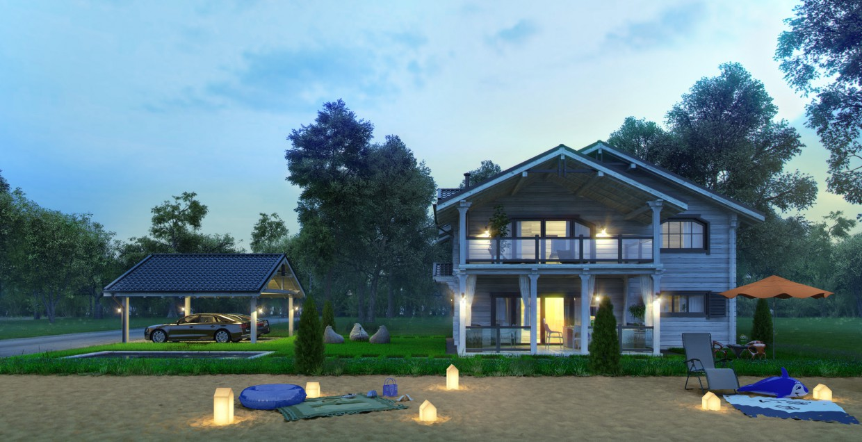 House on a shore in 3d max vray image