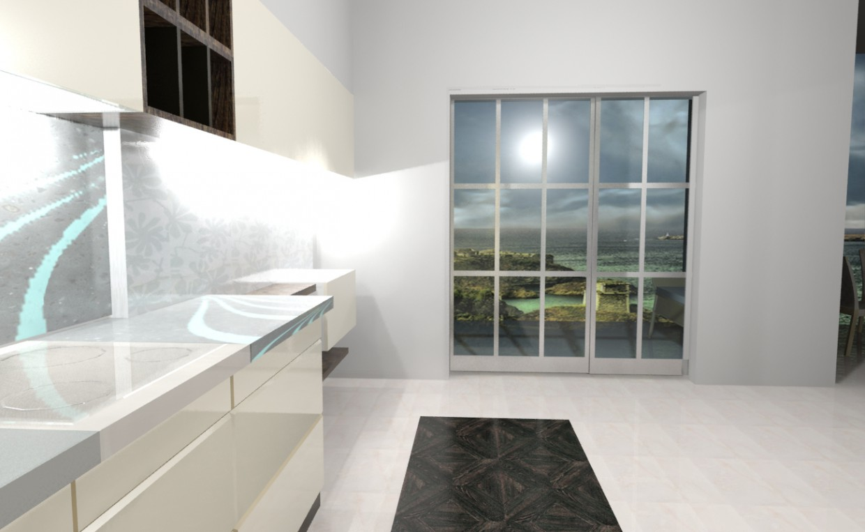3d visualization of the project in the kitchen 3d max, render mental ray of VigaLin