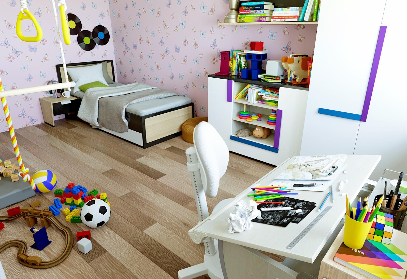 3 डी- बच्चों के कमरे का दृश्य 3d max corona render में प्रस्तुत छवि