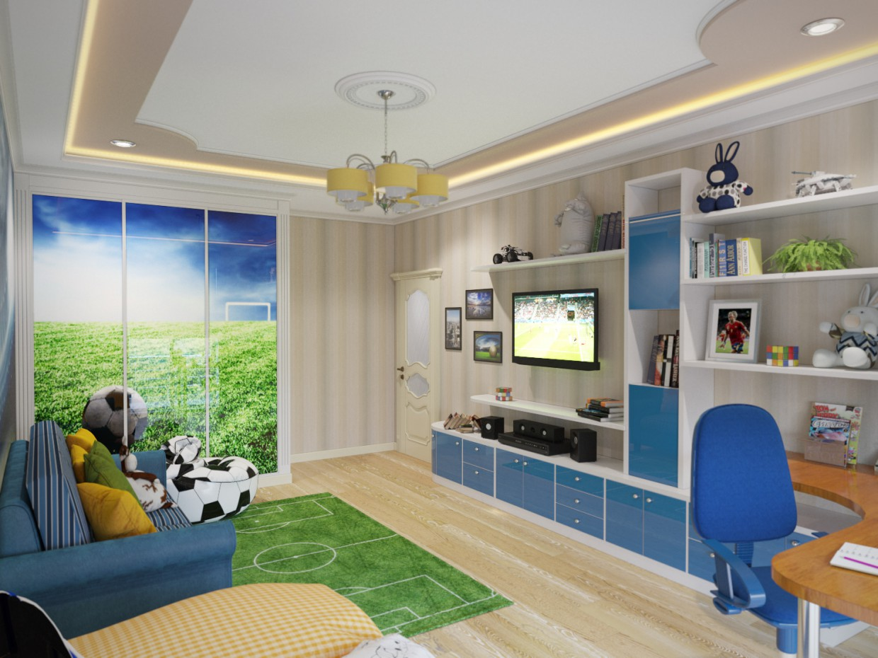 Nursery (football theme) in 3d max corona render image