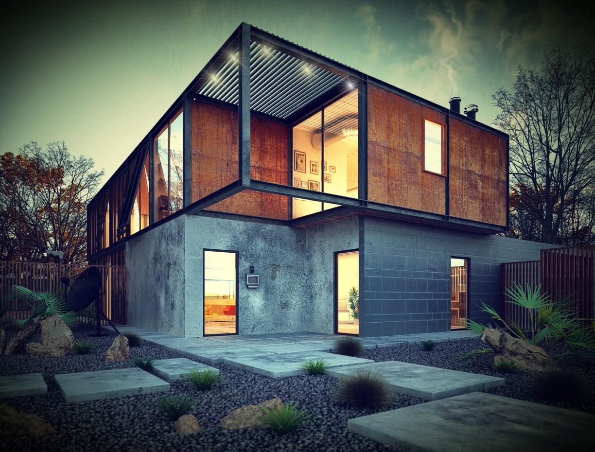Metal House in 3d max vray image