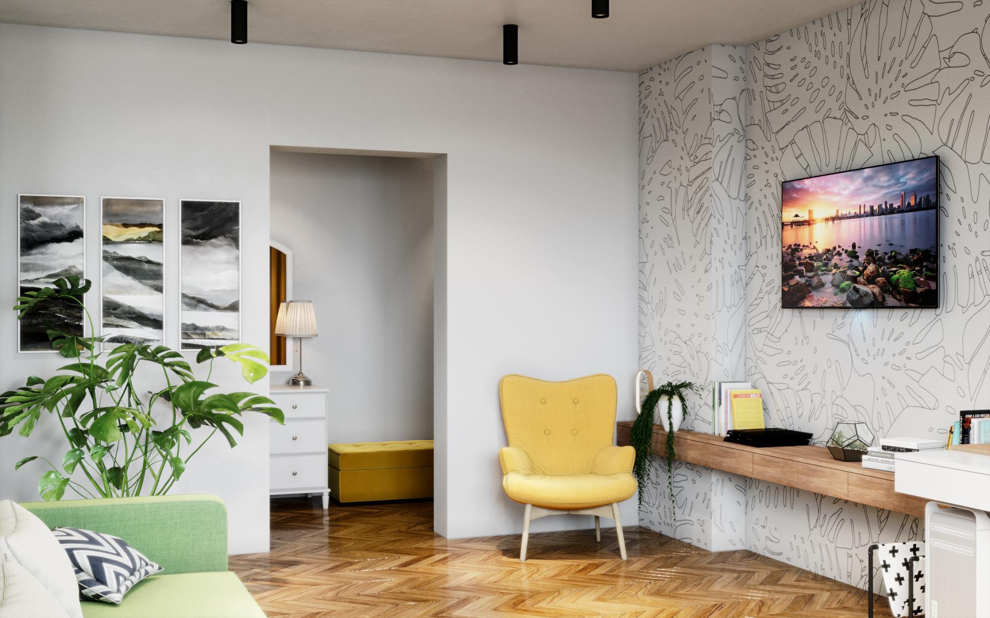 स्कैंडिनेवियाई इंटीरियर 3d max corona render में प्रस्तुत छवि