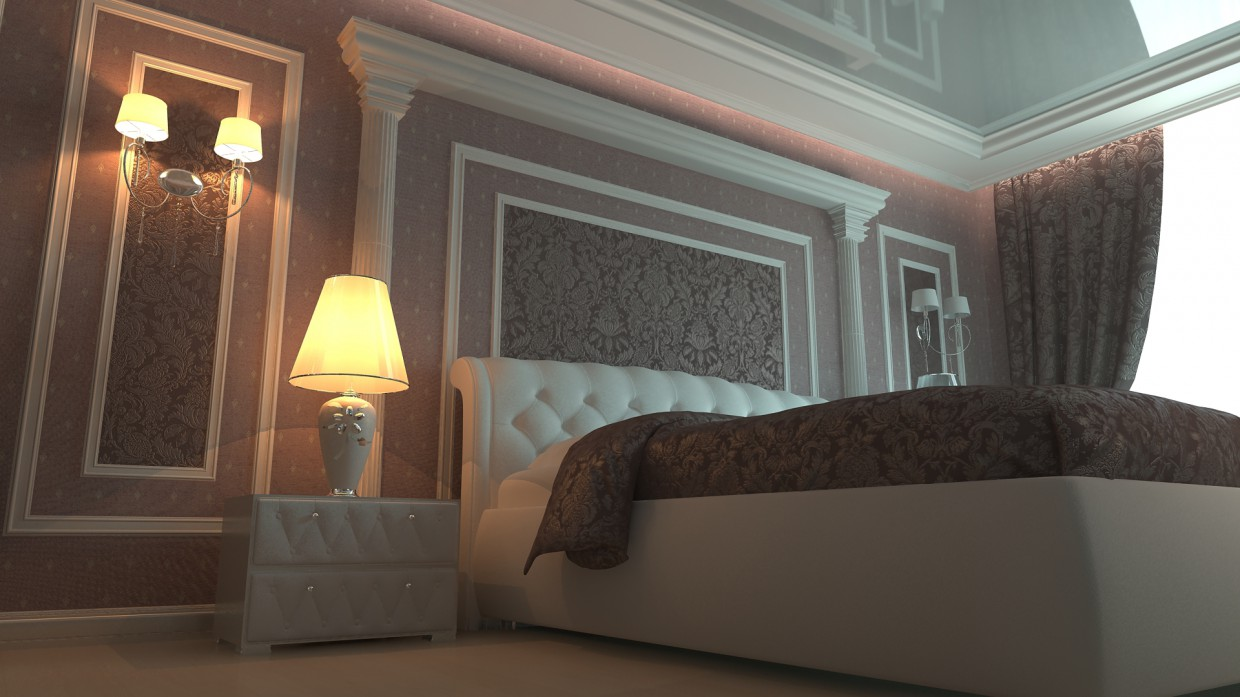 3d visualization of the project in the Bedroom 3d max, render vray 2.0 of andros