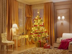 Un arbre de Noël dans le salon.