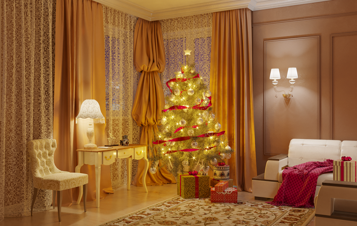 3d visualization of the project in the A Christmas tree in the living room. 3d max, render corona render of Ника Светлая
