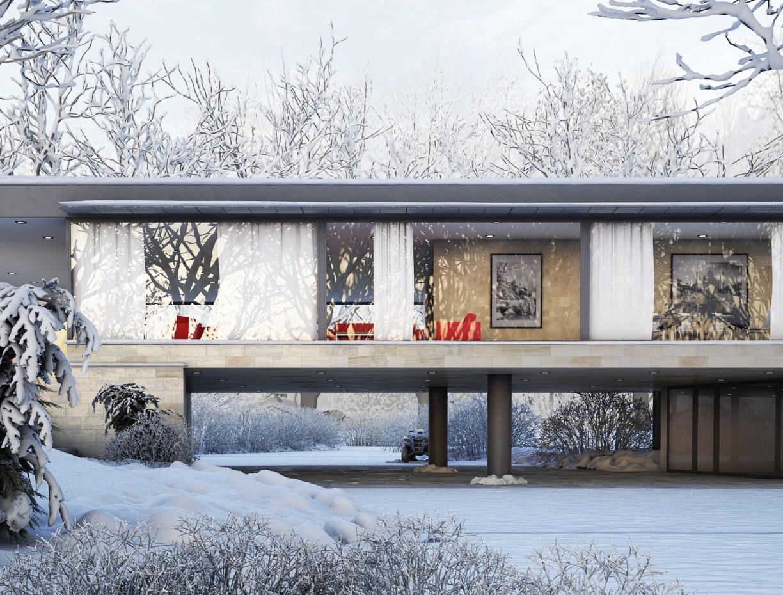 Winter scene в 3d max vray изображение