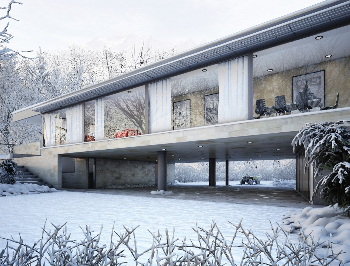 Winter scene in 3d max vray image