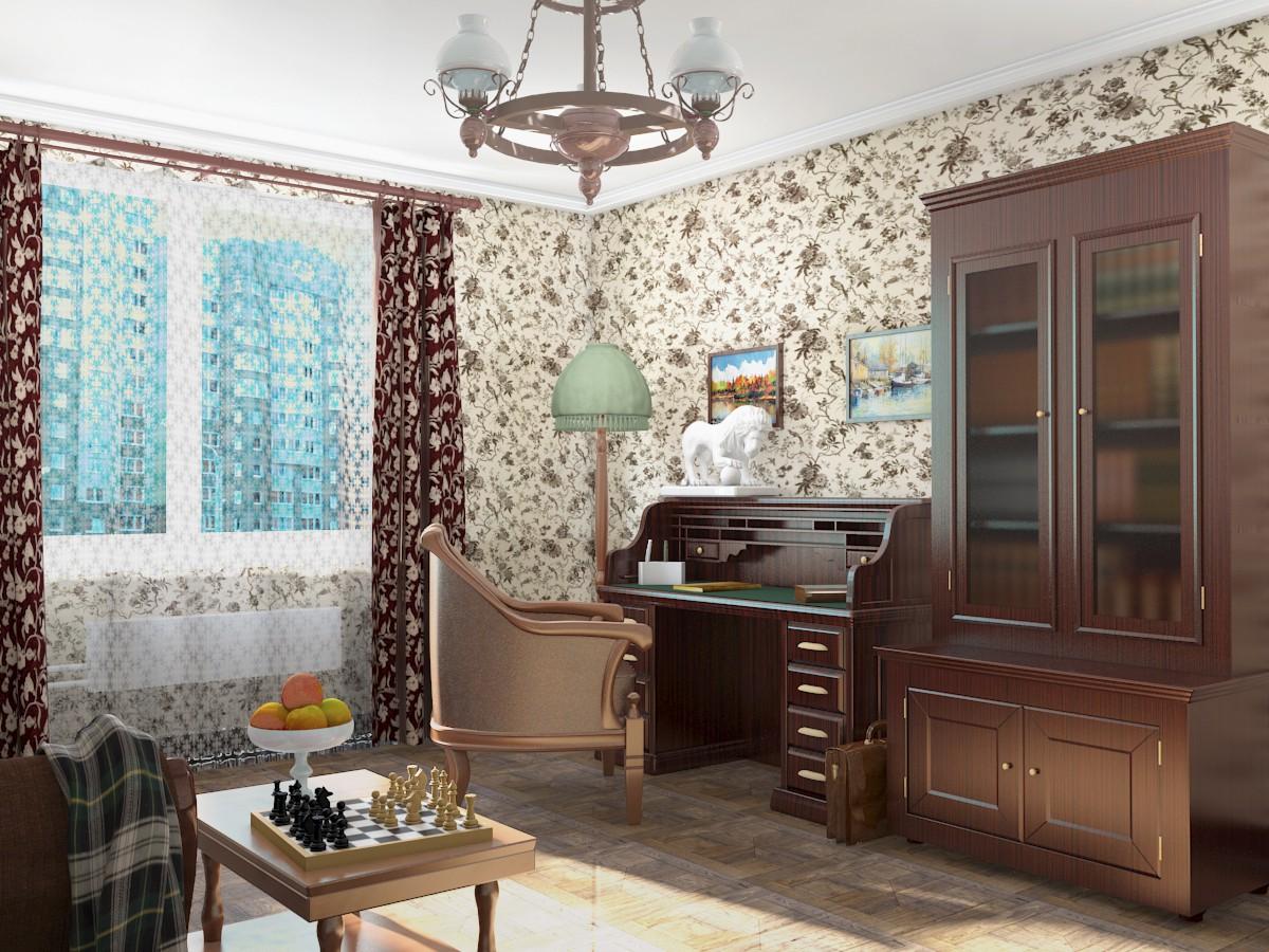 Комната в 3d max mental ray изображение