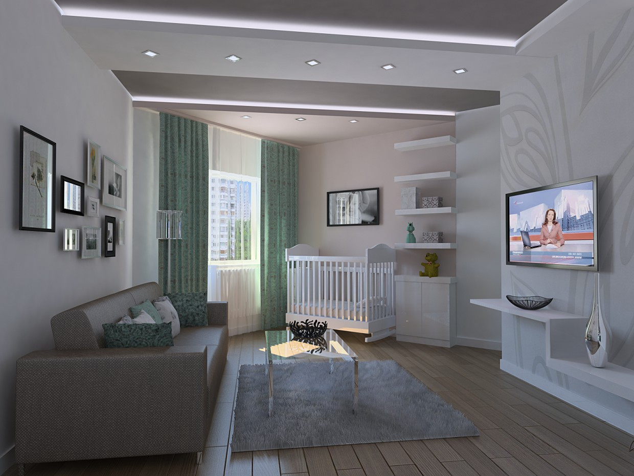 Studio apartment. Living room. in 3d max vray image