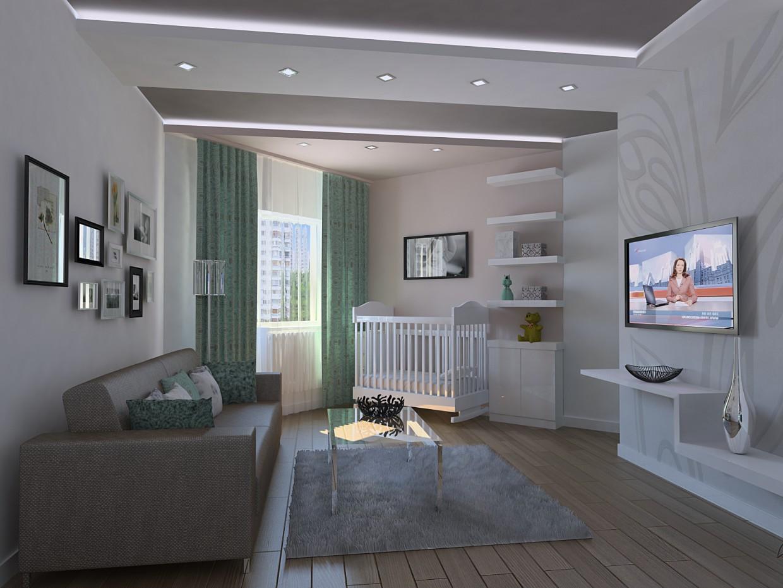 Однокімнатна квартира. Житлова кімната. в 3d max vray зображення