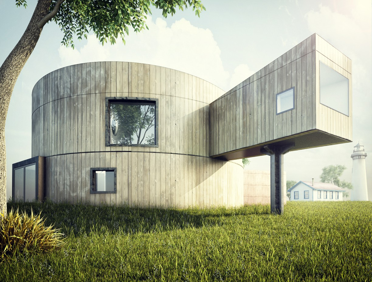 3d visualization of the project in the Wooden cylinder 3d max, render vray of Elnur Hajialiyev