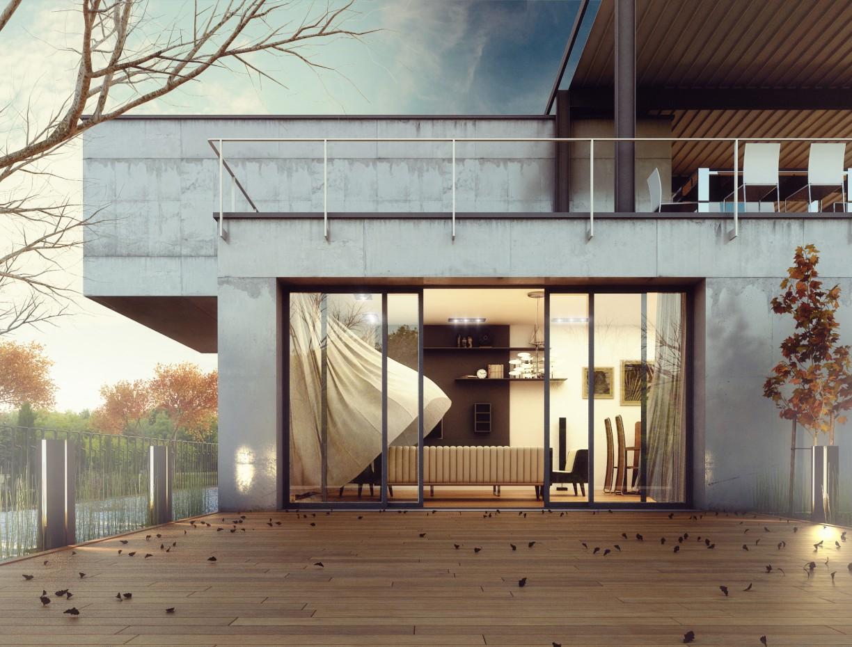 Concrete House в 3d max vray изображение