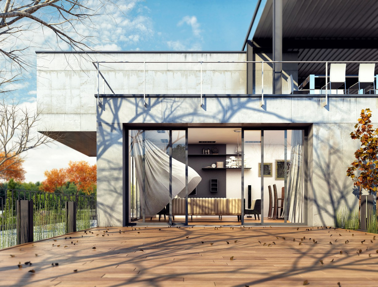 Concrete House in 3d max vray image