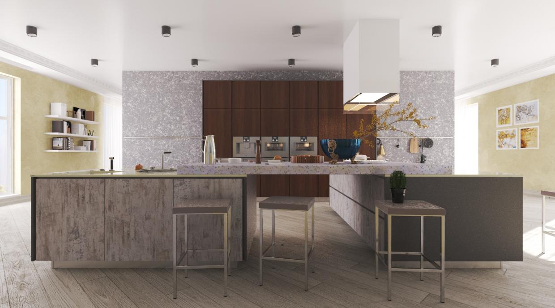आधुनिक रसोई 3d max vray 3.0 में प्रस्तुत छवि