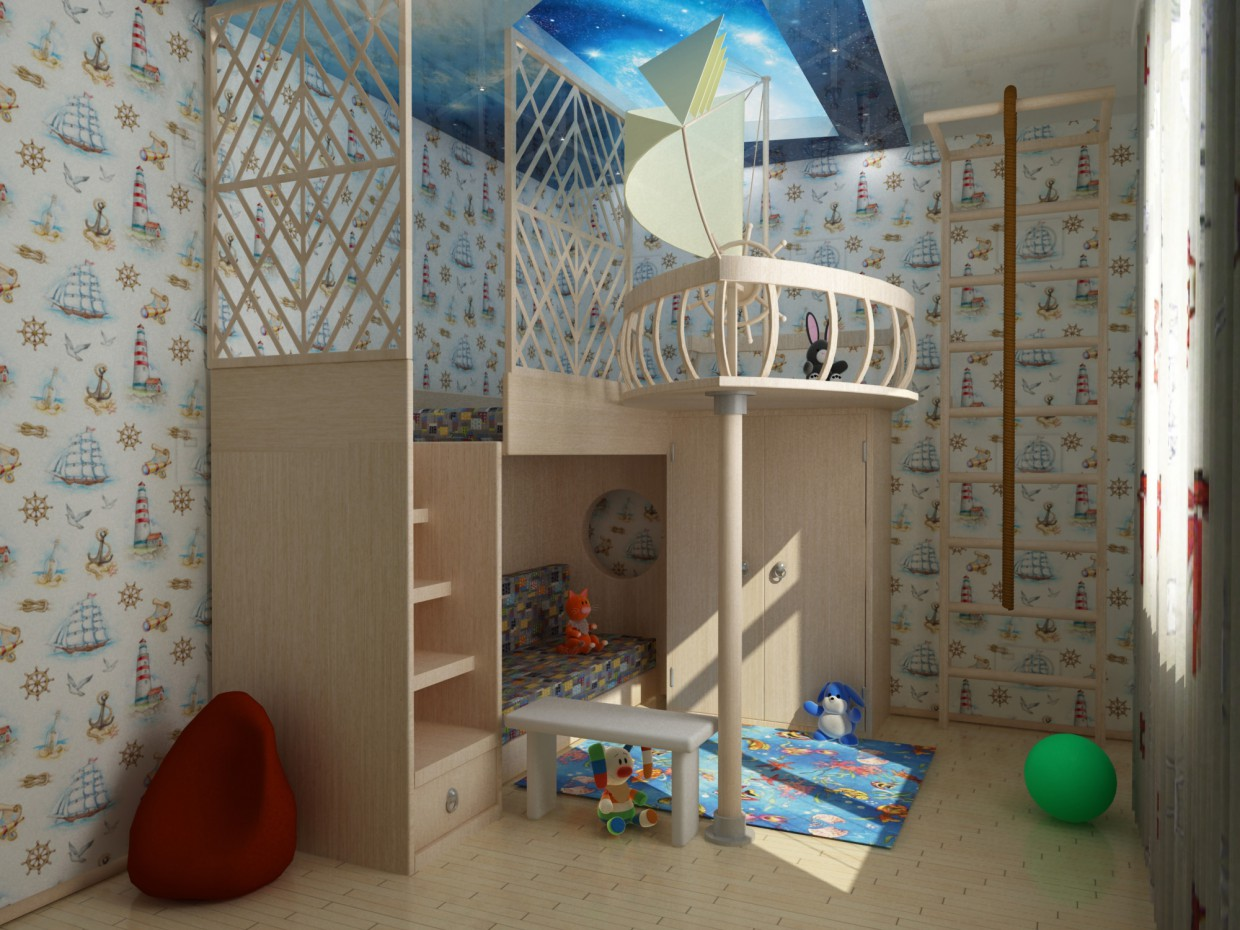 3d visualization of the project in the Nursery 3d max, render vray of Doroteya