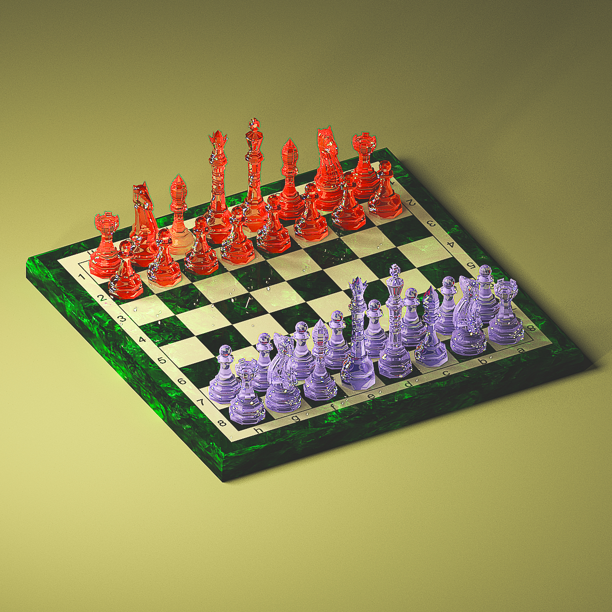 3d visualization of the project in the glass chess 3d max, render vray 3.0 of Heavyraine