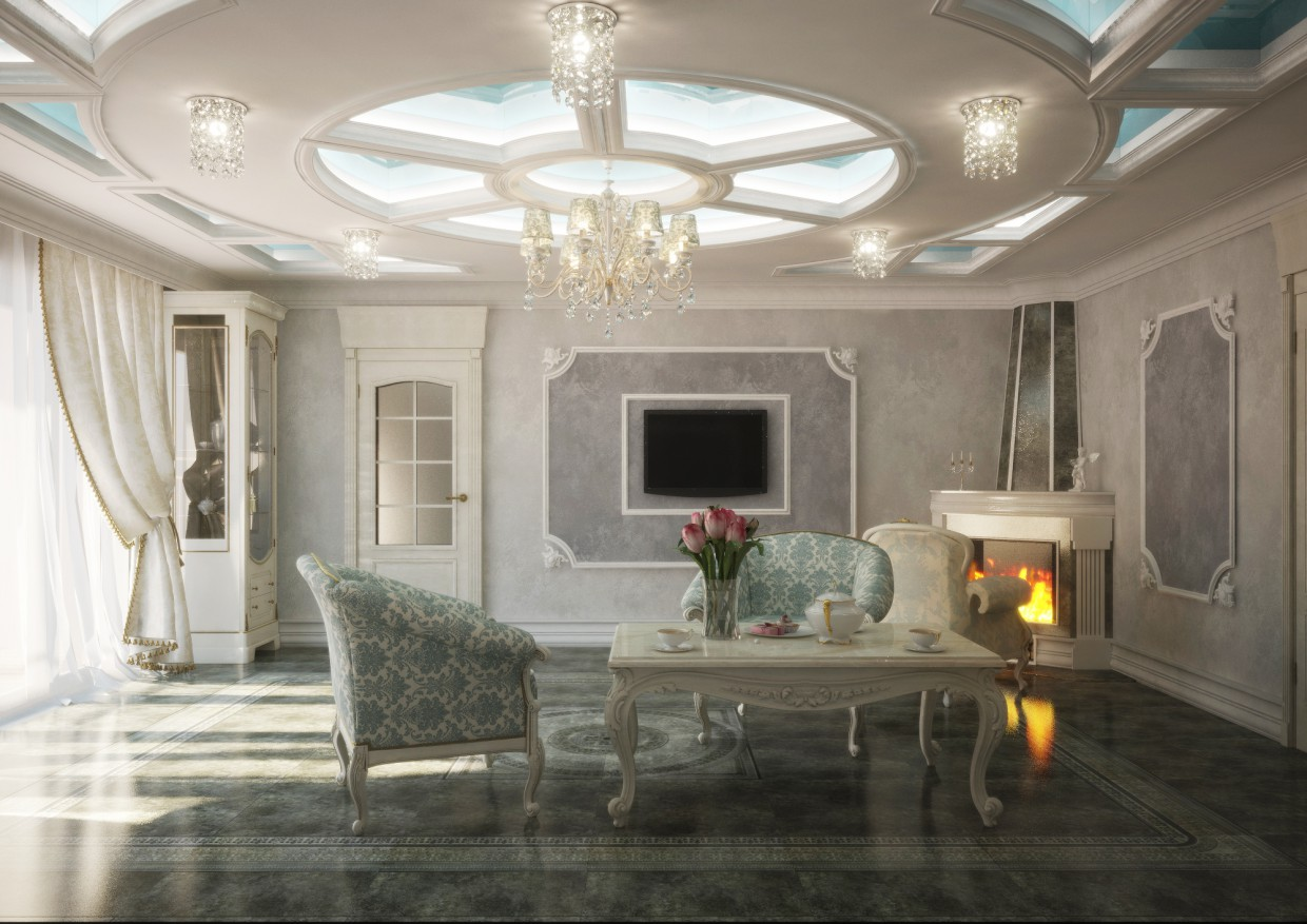 Fireplace area in 3d max vray image